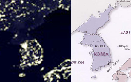 North Korea and South Korean lights