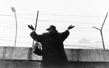 Woman in West Berlin after waiting three hours to see relatives in East Berlin over the wall